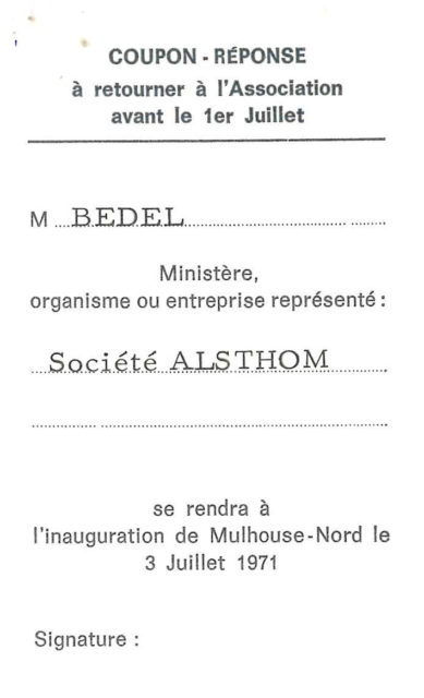 Reply coupon for the inauguration of Mulhouse North of 3 July 1971 of Mr Bedel, representing the company Alsthom