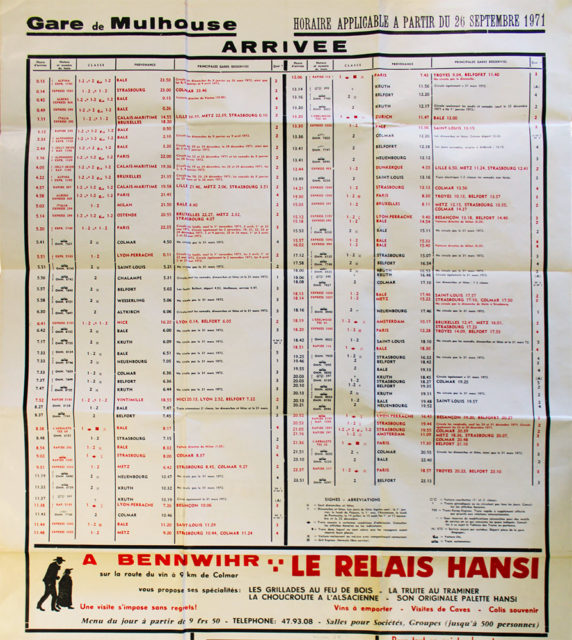 Poster of Mulhouse station - arrivals and schedules applicable from 26 September 1971, Cité du Train collection