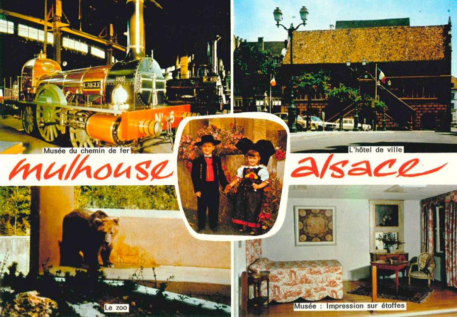 Mulhouse, Alsace postcard, 1974, Compagnie des Arts Photomécaniques, Cité du Train collection