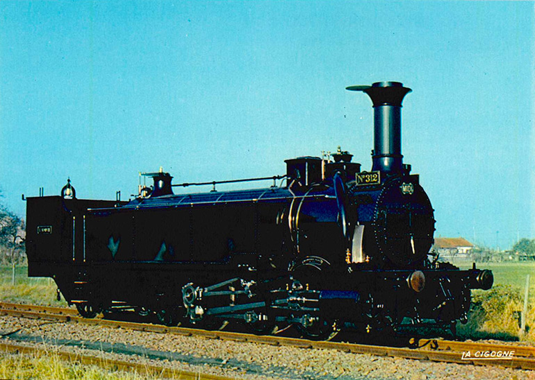 Engerth no 312 L'Adour Midi locomotive (1856), postcard, photograph SNCF - DUPITIER, éditions La Cigogne, Cité du Train collection
