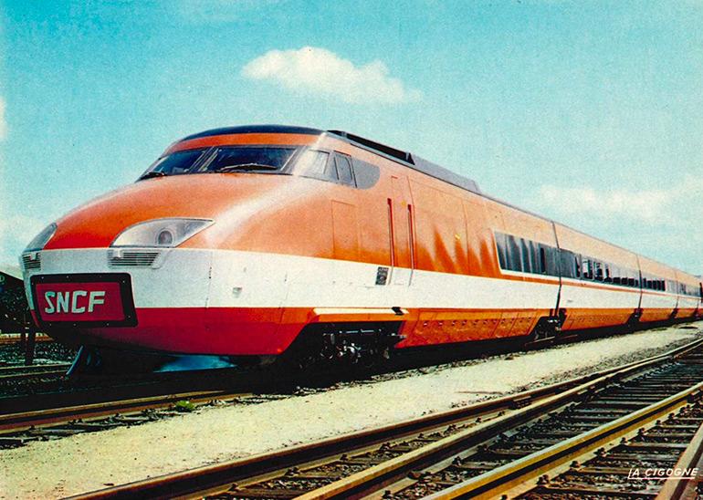 S.N.C.F. works for the future… Prototype Turbotrain high-speed TGV-001 train (1972), postcard, photograph: SNCF/Broncard, éditions La Cigogne, Cité du Train collection