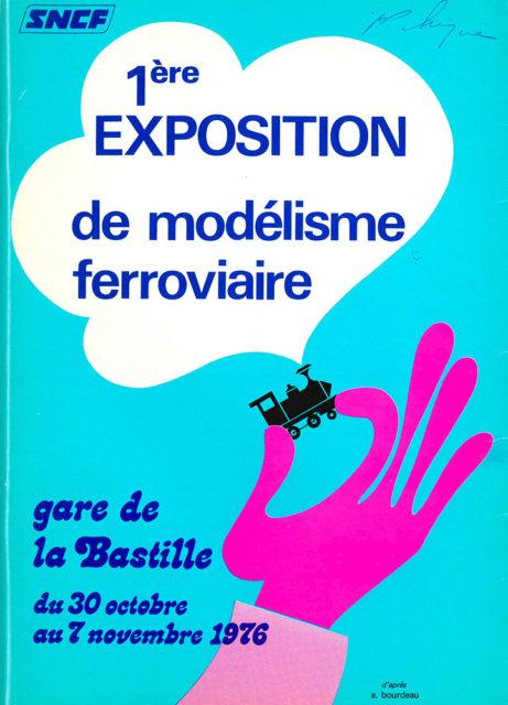 A. Bourdeau, Première exposition de modélisme ferroviaire, Affiche publicitaire SNCF, 1976, Collection Cité du Train