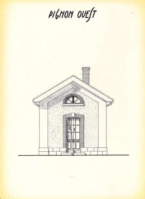 Pignon Ouest de la petite gare extérieure, plan, octobre 1982, Collection Cité du Train