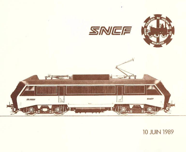 Carton d'invitation au parrainage de la locomotive BB 26006 SYBIC baptisée Mulhouse, 10 juin 1989, Collection Cité du Train