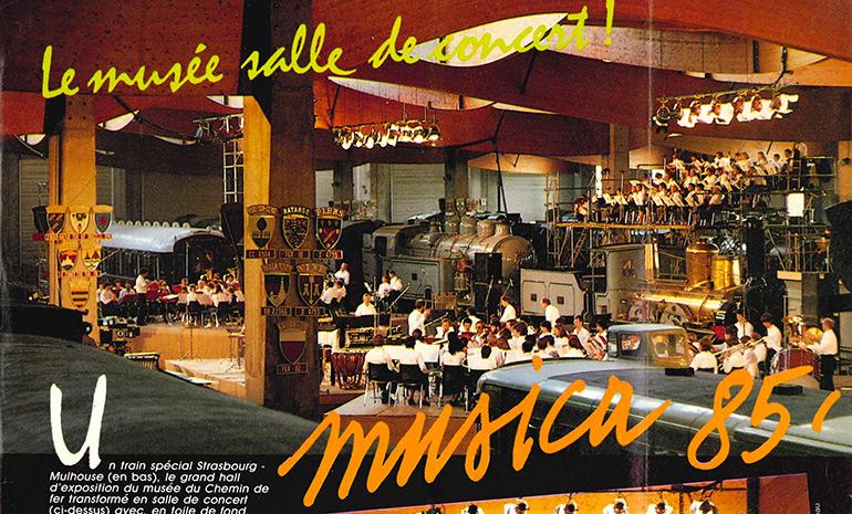 Le musée salle de concert ! Musica 85', Photographie issue d'un extrait de presse, 1985, Collection Cité du Train