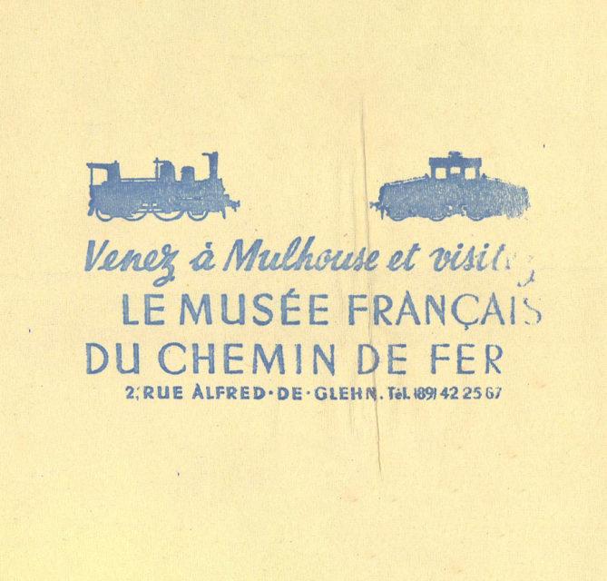 """Serviette de table publicitaire """"Venez à Mulhouse et Visitez le Musée Français du Chemin de Fer"""", s.d., Collection Cité du Train"""