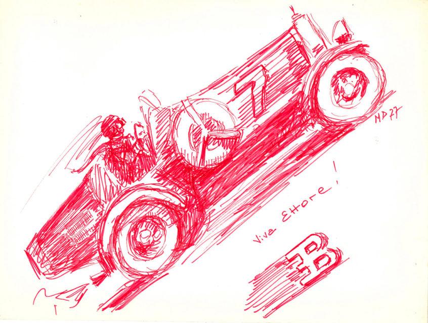 Michel Doerr, Viva Ettore, dessin, 1977, Collection Cité du Train