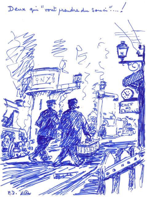 Michel Doerr, Deux qui vont prendre du souci, dessin, s.d., Collection Cité du Train