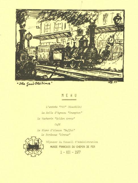 Menu du déjeuner du Conseil d'Administration, 1er décembre 1977, Collection Cité du Train