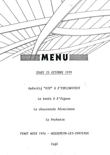 Menu du Congrès de l'Equipement, 25 octobre 1979, Collection Cité du Train