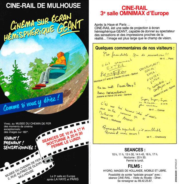 Dépliant publicitaire pour le Ciné-Rail, septembre 1989, Collection Cité du Train