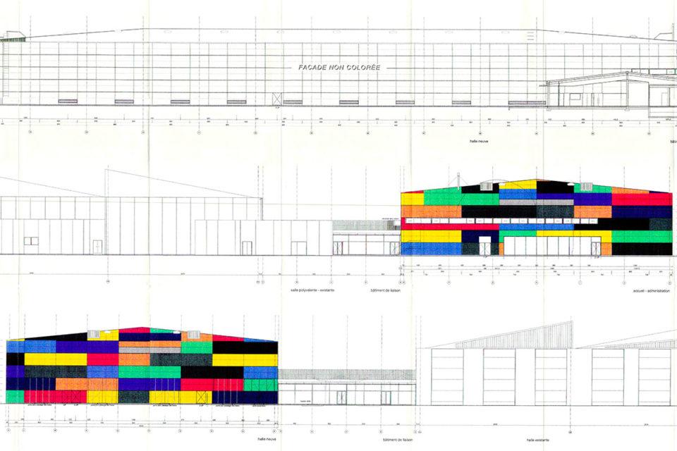 Collectif, Principe de répartition des couleurs sur les façades N-O, S-O, N-E, Plan, 04 février 2003 , Collection Cité du Train