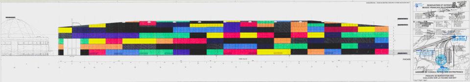 Collective, Principle for the distribution of colours on the southeast façade, Plan, 4 February 2003, Cité du Train collection